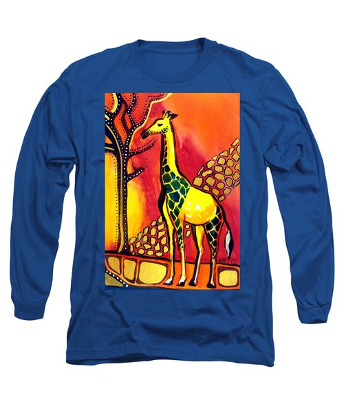 Giraffe With Fire  Long Sleeve T-Shirt by Dora Hathazi Mendes