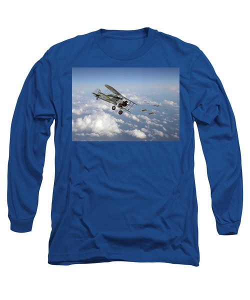 Long Sleeve T-Shirt featuring the digital art  Gloster Gladiator - Malta Defiant by Pat Speirs