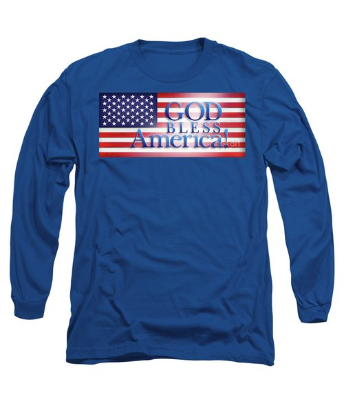 Long Sleeve T-Shirt featuring the mixed media God Bless America by Shevon Johnson