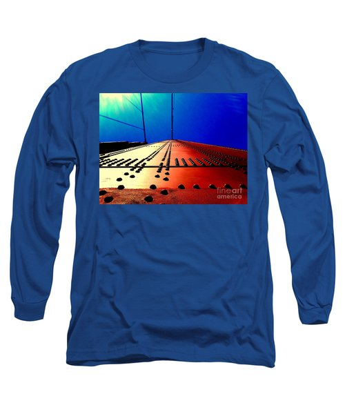 Golden Gate Bridge In California Rivets And Cables Long Sleeve T-Shirt by Michael Hoard