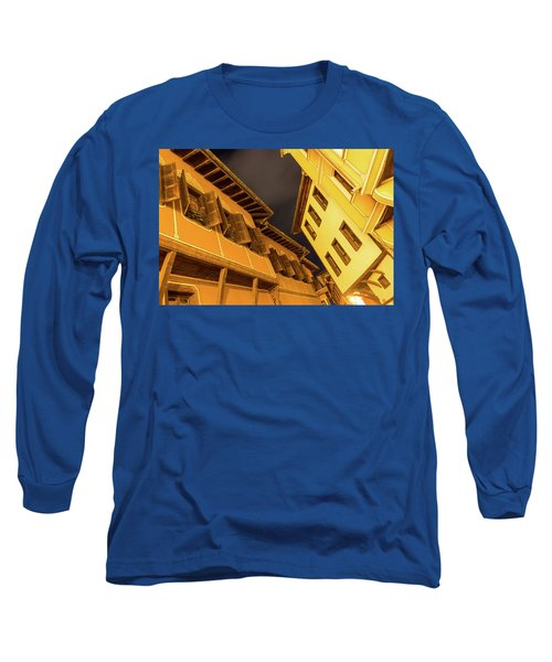 Golden Yellow Night - Chic Zigzags Of Oriel Windows And Serrated Roof Lines Long Sleeve T-Shirt