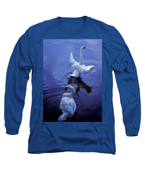 Graceful Swans Long Sleeve T-Shirt by Marie Hicks