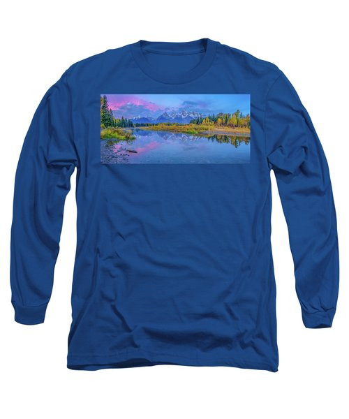 Grand Teton Sunrise Panoramic Long Sleeve T-Shirt