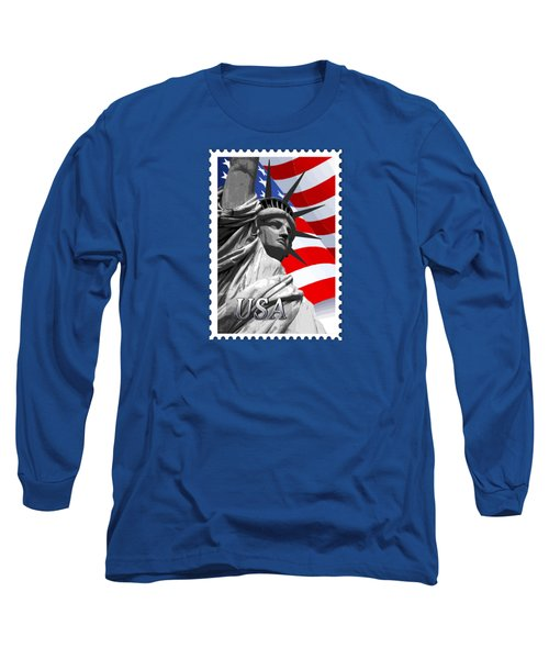 Graphic Statue Of Liberty With American Flag Text Usa Long Sleeve T-Shirt by Elaine Plesser