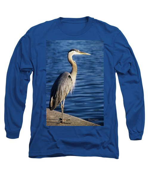 Great Blue Heron At Put-in-bay Long Sleeve T-Shirt