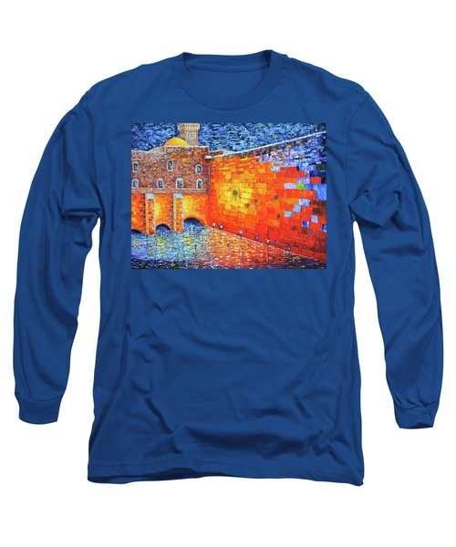 Long Sleeve T-Shirt featuring the painting Wailing Wall Greatness In The Evening Jerusalem Palette Knife Painting by Georgeta Blanaru