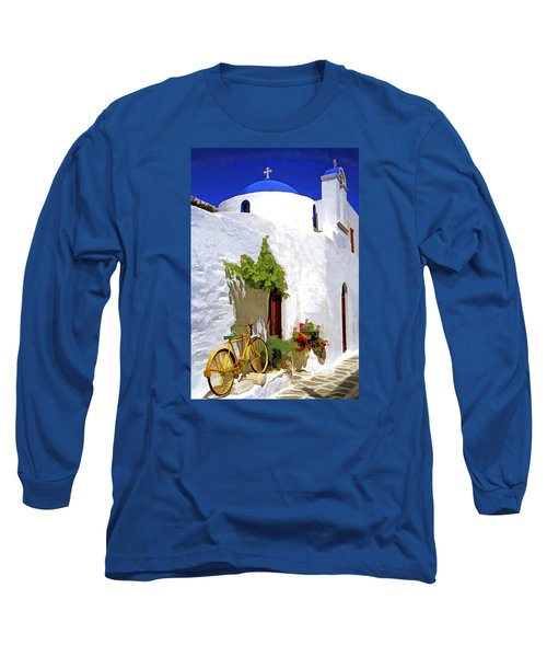 Long Sleeve T-Shirt featuring the photograph Greek Church With Bike by Dennis Cox WorldViews