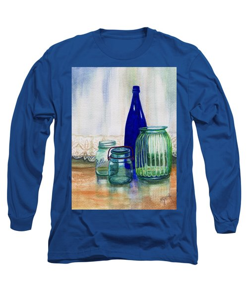 Long Sleeve T-Shirt featuring the painting Green Jars Still Life by Marilyn Smith
