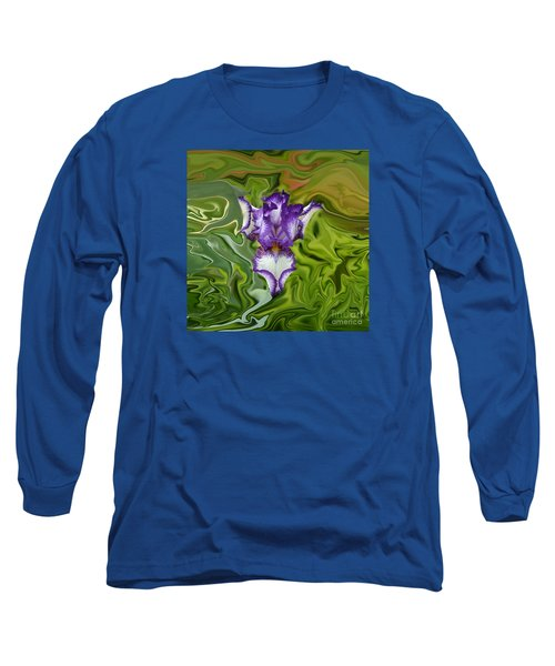 Groovy Purple Iris Long Sleeve T-Shirt by Rebecca Margraf
