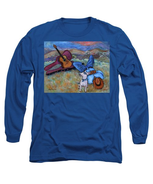 Guitar Doggy And Me In Wine Country Long Sleeve T-Shirt