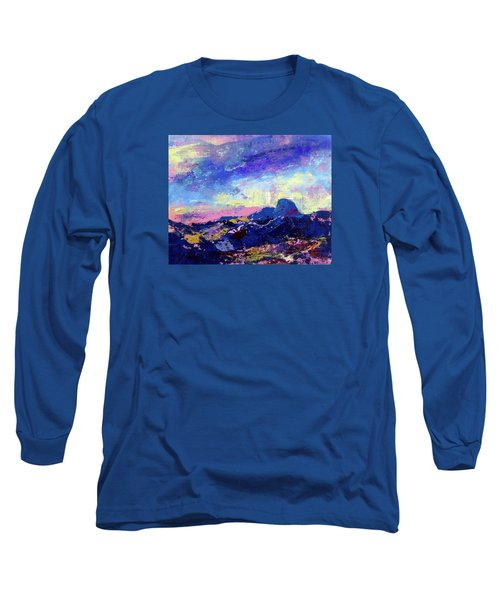 Long Sleeve T-Shirt featuring the painting Half Dome Summer Sunrise by Walter Fahmy