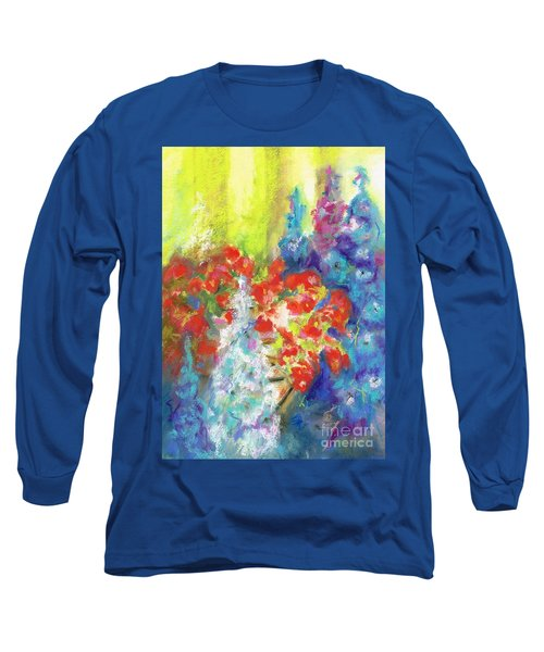 Hanging With The Delphiniums  Long Sleeve T-Shirt by Frances Marino