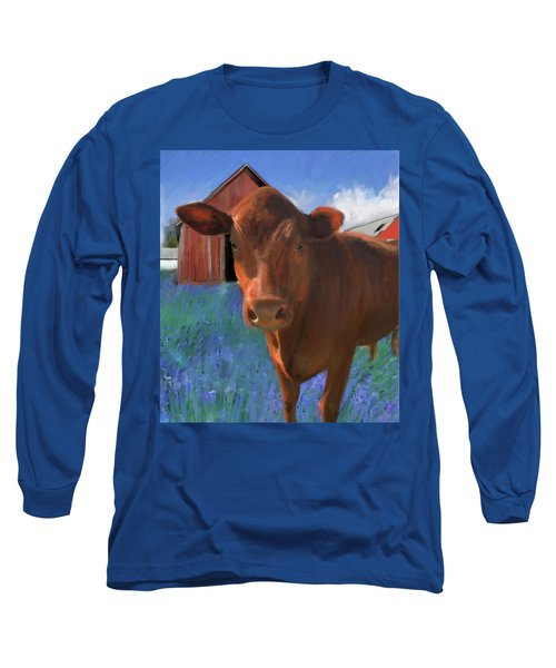 Happy Cow West Marin  Long Sleeve T-Shirt by Julianne Ososke
