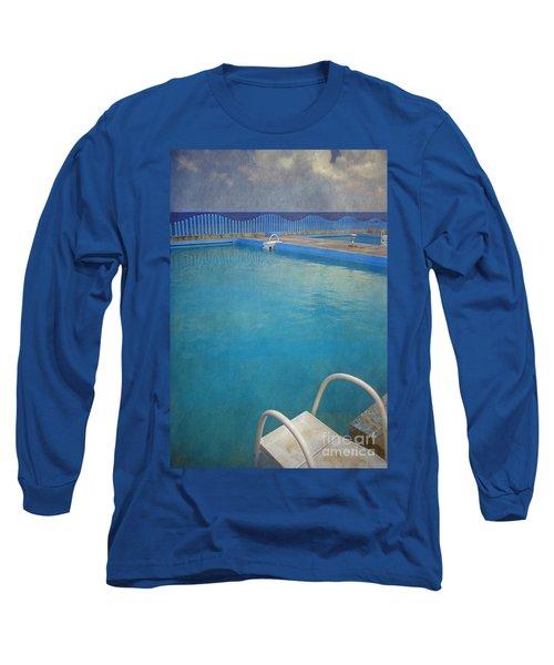 Long Sleeve T-Shirt featuring the photograph Havana Cuba Swimming Pool And Ocean by David Zanzinger