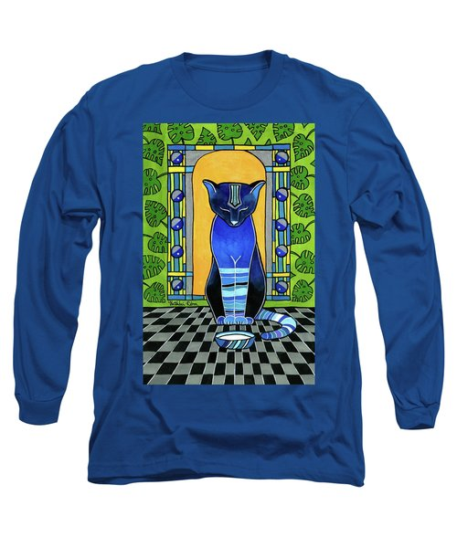 Long Sleeve T-Shirt featuring the painting He Is Back - Blue Cat Art by Dora Hathazi Mendes