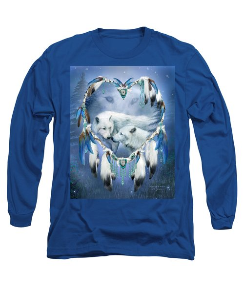 Long Sleeve T-Shirt featuring the mixed media Heart Of A Wolf 3 by Carol Cavalaris