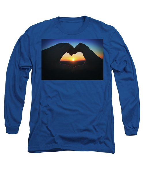 Long Sleeve T-Shirt featuring the photograph Heart Shaped Hand Silhouette - Sunset At Lapham Peak - Wisconsin by Jennifer Rondinelli Reilly - Fine Art Photography