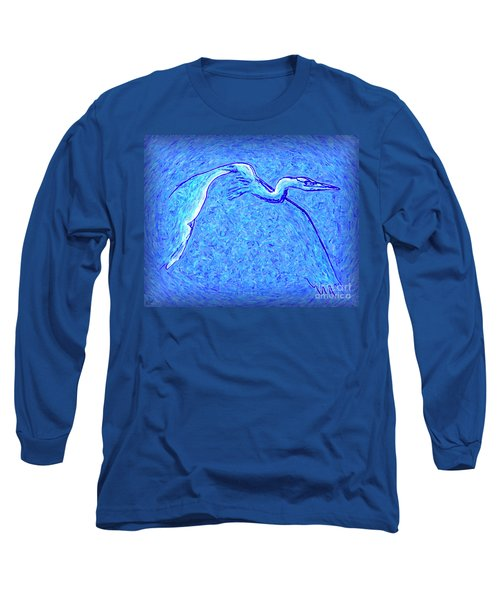 Long Sleeve T-Shirt featuring the photograph Heron In Flight by Walt Foegelle