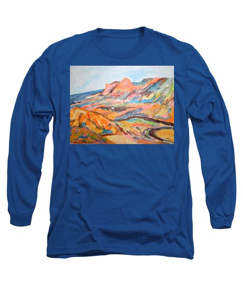 Hills Flowing Down To The Beach Long Sleeve T-Shirt by Esther Newman-Cohen
