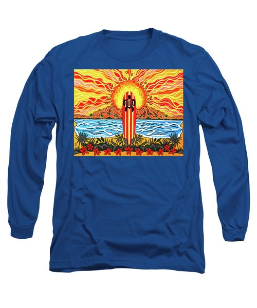 Long Sleeve T-Shirt featuring the painting Honu Surf by Debbie Chamberlin