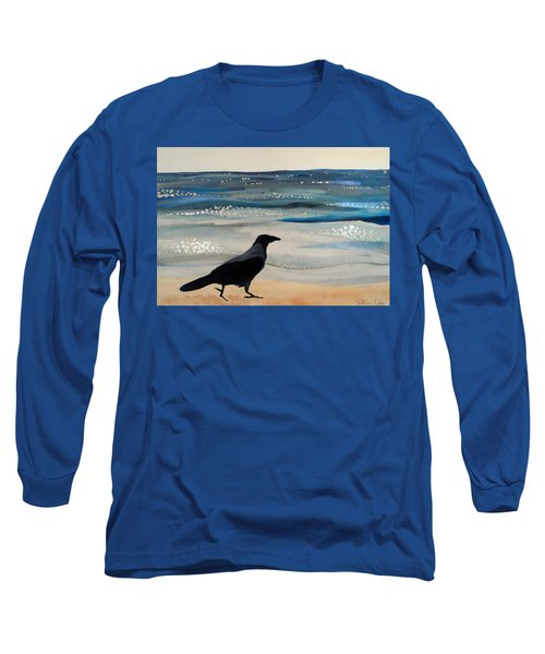 Hooded Crow At The Black Sea By Dora Hathazi Mendes Long Sleeve T-Shirt