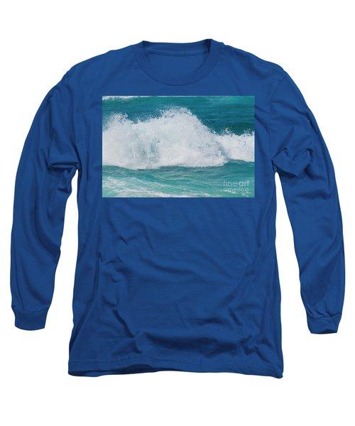 Hookipa Splash Waves Beach Break Shore Break Pacific Ocean Maui  Long Sleeve T-Shirt by Sharon Mau