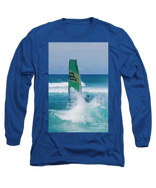 Hookipa Windsurfing North Shore Maui Hawaii Long Sleeve T-Shirt by Sharon Mau