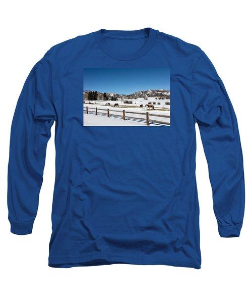 Horses On A Small Farm Near The Aspen Airport Long Sleeve T-Shirt by Carol M Highsmith