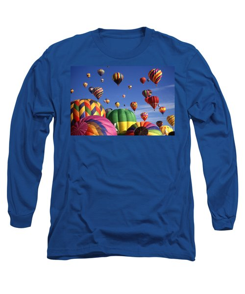 Beautiful Balloons On Blue Sky - Color Photo Long Sleeve T-Shirt