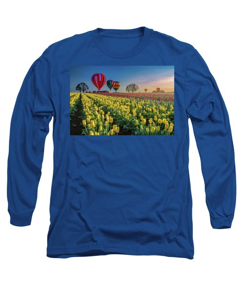 Long Sleeve T-Shirt featuring the photograph Hot Air Balloons Over Tulip Fields by William Lee