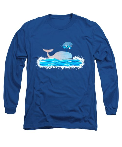 Long Sleeve T-Shirt featuring the mixed media How Whales Have Fun by Shawna Rowe