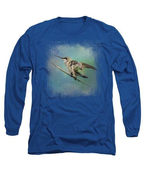 Hummingbird On Mint Long Sleeve T-Shirt