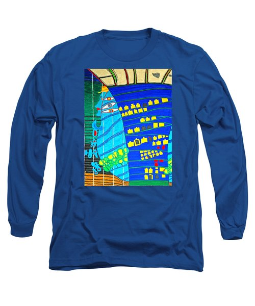 Hundertwasser Blue Moon Atlantis Escape To Outer Space Long Sleeve T-Shirt