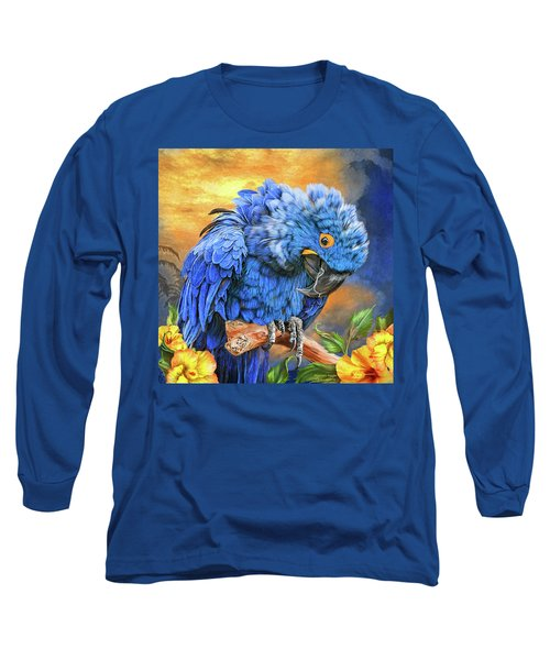 Long Sleeve T-Shirt featuring the mixed media Hyacinth Macaw by Carol Cavalaris