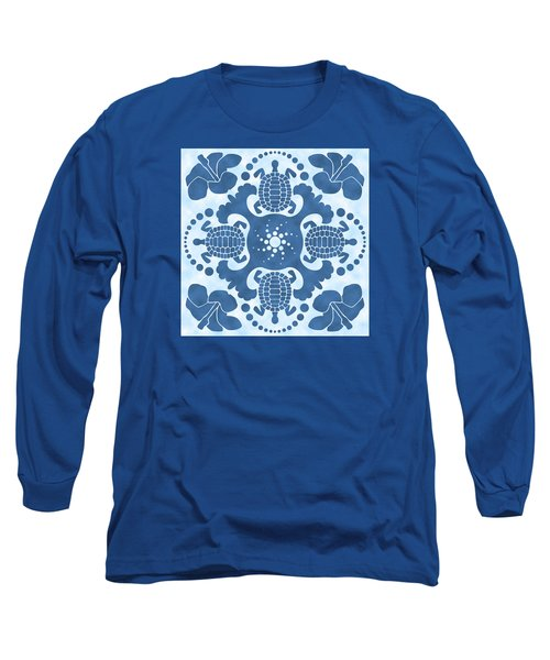 Hybiscus And Turtle Hawaiian Quilt Block Long Sleeve T-Shirt