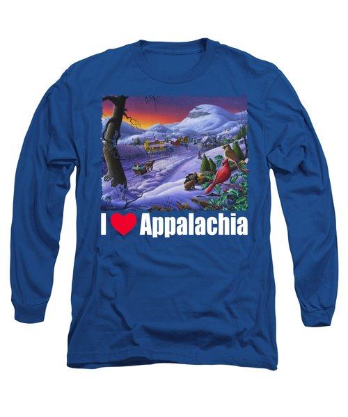 I Love Appalachia T Shirt - Small Town Winter Landscape 2 - Cardinals Long Sleeve T-Shirt