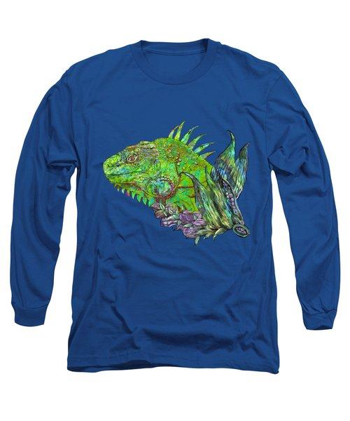 Long Sleeve T-Shirt featuring the mixed media Iguana Cool by Carol Cavalaris