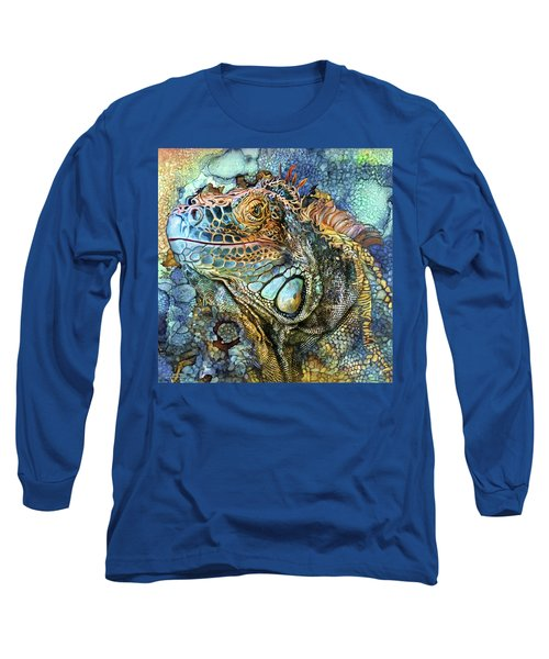 Long Sleeve T-Shirt featuring the mixed media Iguana - Spirit Of Contentment by Carol Cavalaris