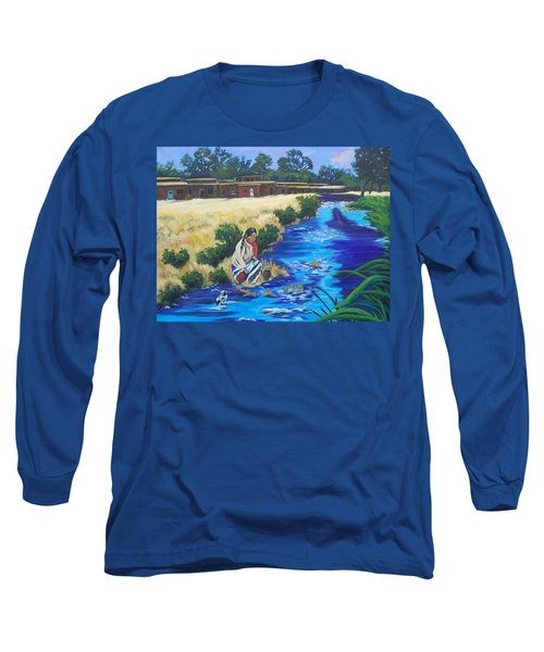 Indian Woman At The Watering Hole Long Sleeve T-Shirt