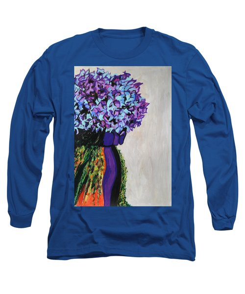 Indigo Flowers For Ma Long Sleeve T-Shirt by Esther Newman-Cohen