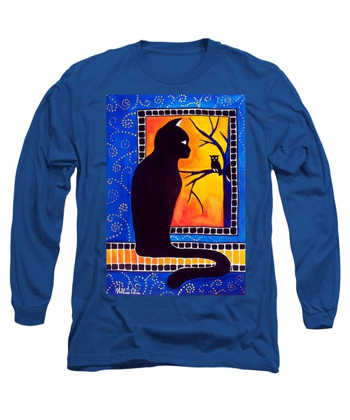 Insomnia - Cat And Owl Art By Dora Hathazi Mendes Long Sleeve T-Shirt by Dora Hathazi Mendes