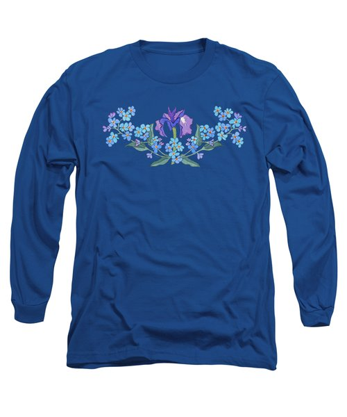Iris And Forget Me Not Curved Garland Long Sleeve T-Shirt by Teresa Ascone