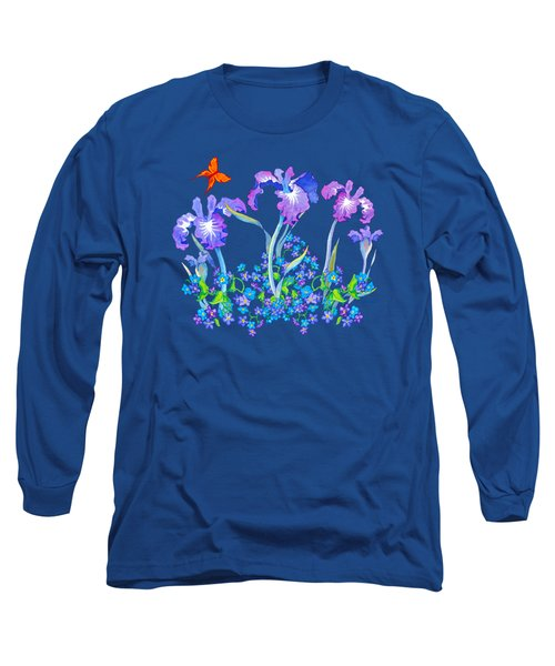 Iris Bouquet With Forget Me Nots Long Sleeve T-Shirt by Teresa Ascone