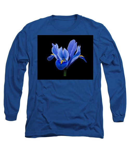 Iris Reticulata, Black Background Long Sleeve T-Shirt by Paul Gulliver