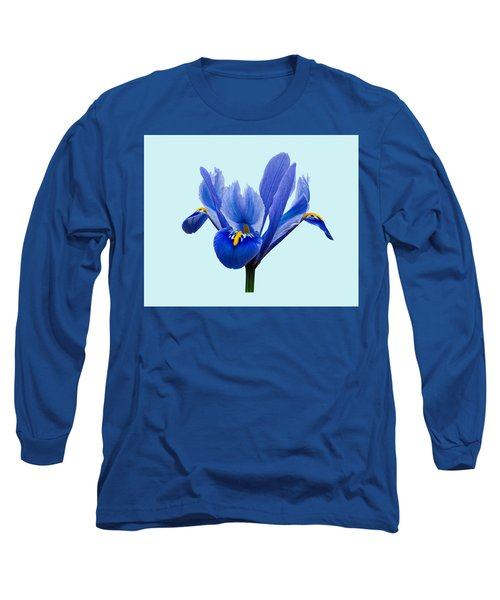 Iris Reticulata Blue Background Long Sleeve T-Shirt by Paul Gulliver