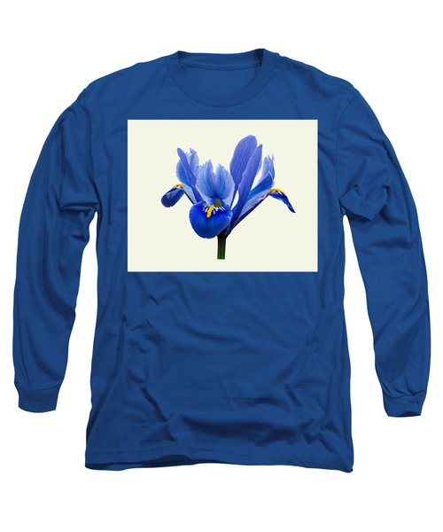 Iris Reticulata, Cream Background Long Sleeve T-Shirt by Paul Gulliver