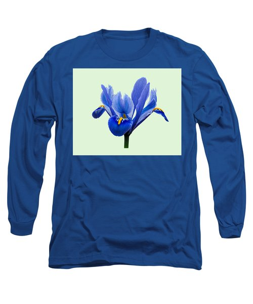 Iris Reticulata, Green Background Long Sleeve T-Shirt by Paul Gulliver