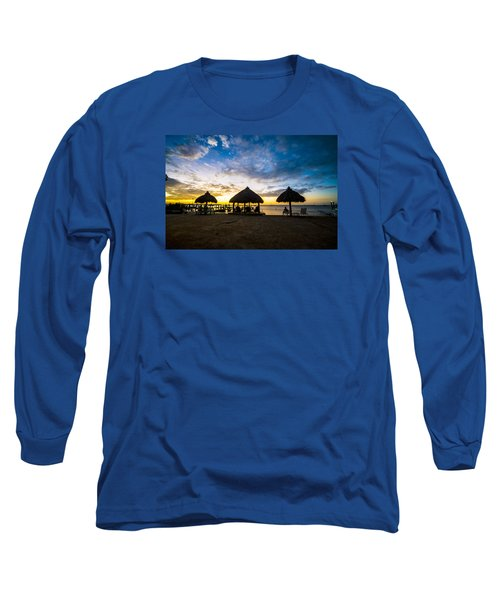 Island Huts Sunset Long Sleeve T-Shirt by Kevin Cable