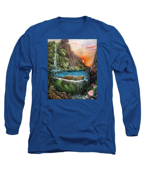 Jaguar Sunset  Long Sleeve T-Shirt by Retta Stephenson