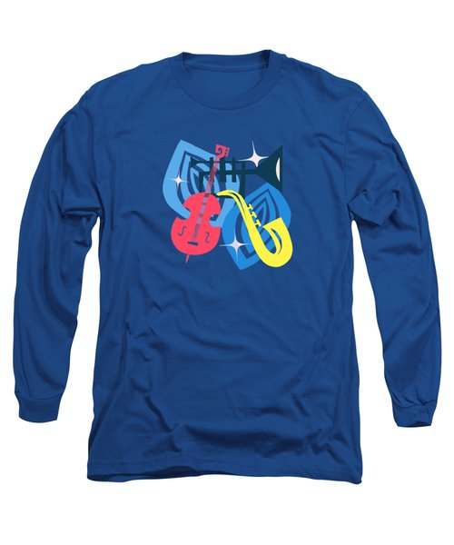 Jazz Composition With Bass, Saxophone And Trumpet Long Sleeve T-Shirt